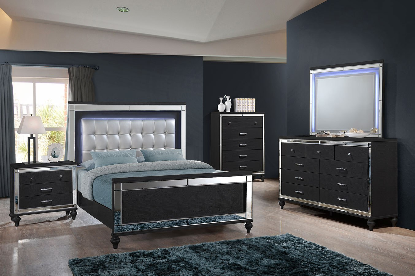 Valentino Panel Bedroom Set Black New Classic Furniture Furniture Cart