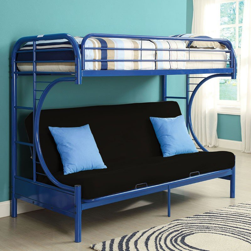 Eclipse Twin Over Full Futon Bunk Bed Navy Acme