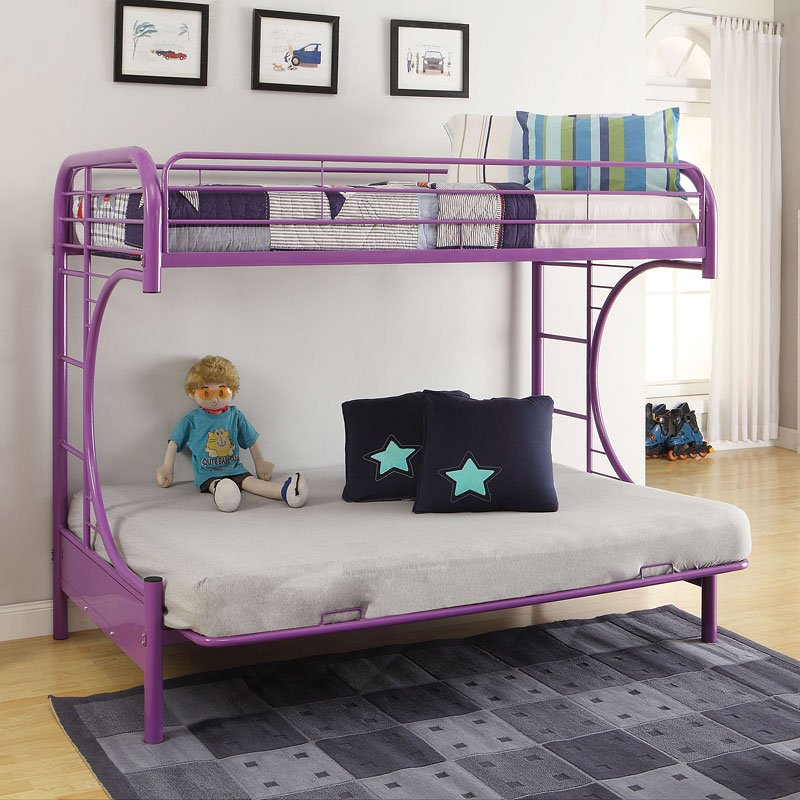 Eclipse Twin Over Full Futon Bunk Bed Purple Acme