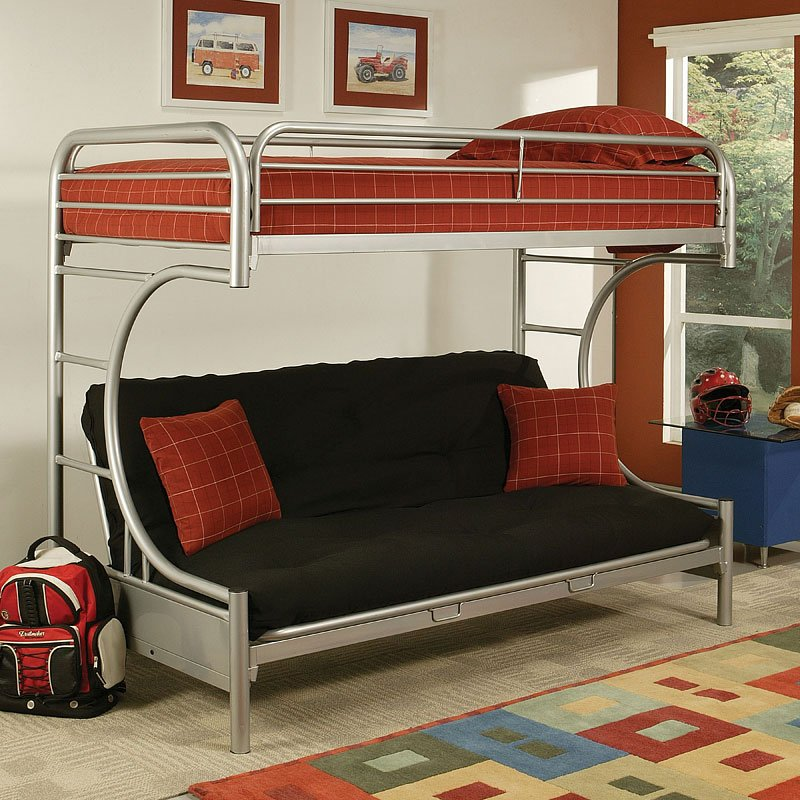 Eclipse Twin Over Full Futon Bunk Bed Silver Acme
