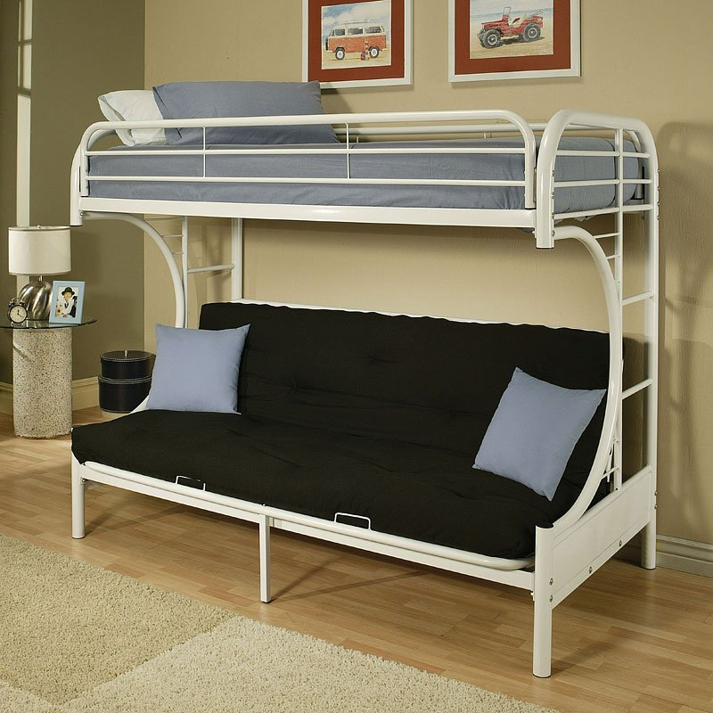 Eclipse Twin Over Full Futon Bunk Bed White Acme