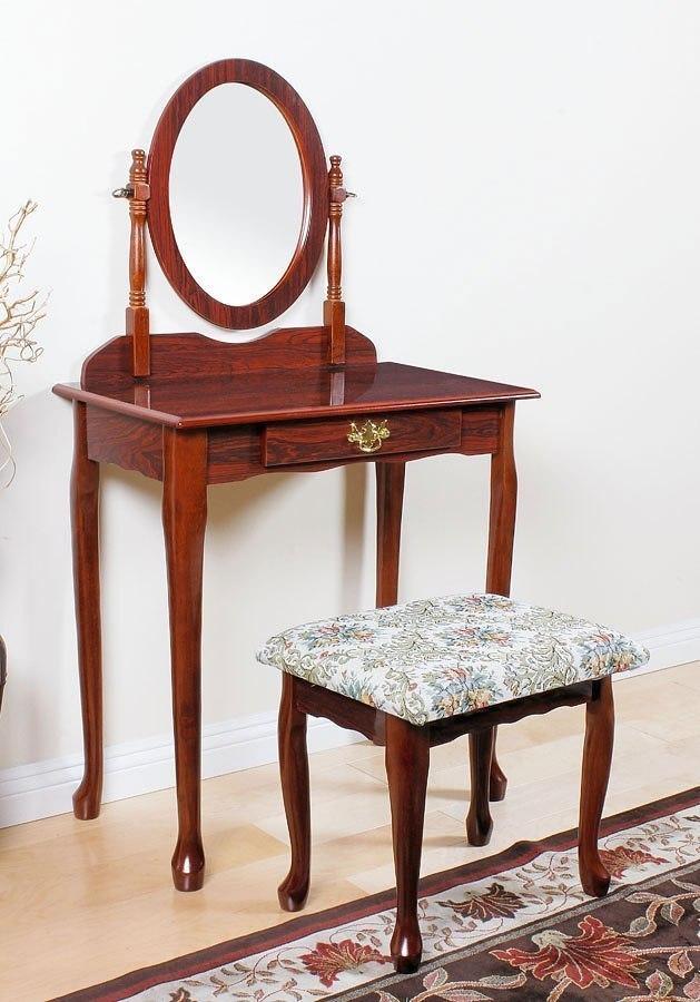 Queen anne vanity set cherry acme furniture furniture cart - Queen anne bedroom furniture cherry ...