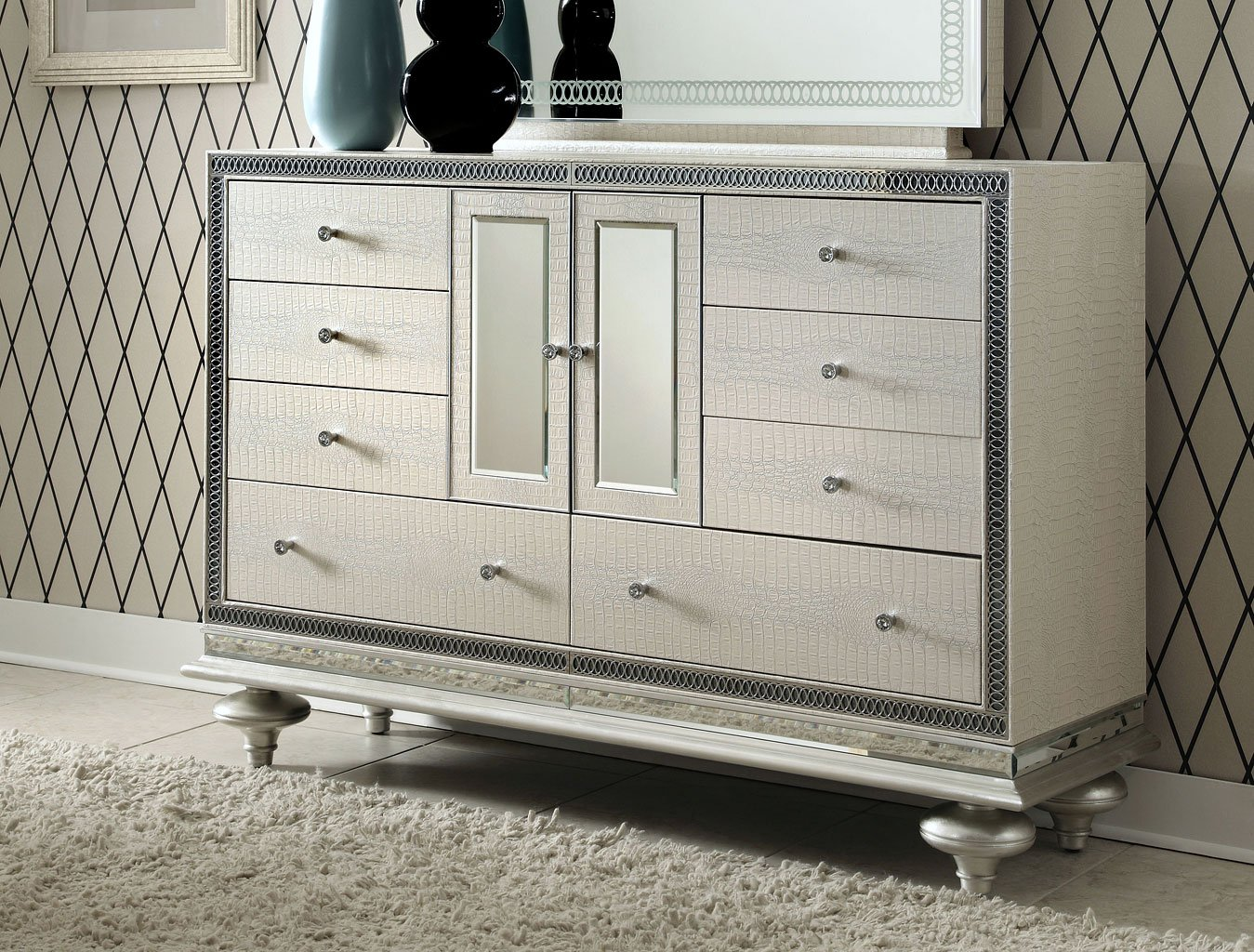Exceptionnel Hollywood Swank Dresser (Crystal Croc) By Aico Furniture