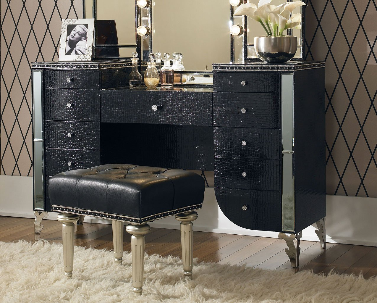 fabulous hollywood bedroom furniture set | Hollywood Swank Bedroom Set W/ Creamy Pearl Bed Aico ...