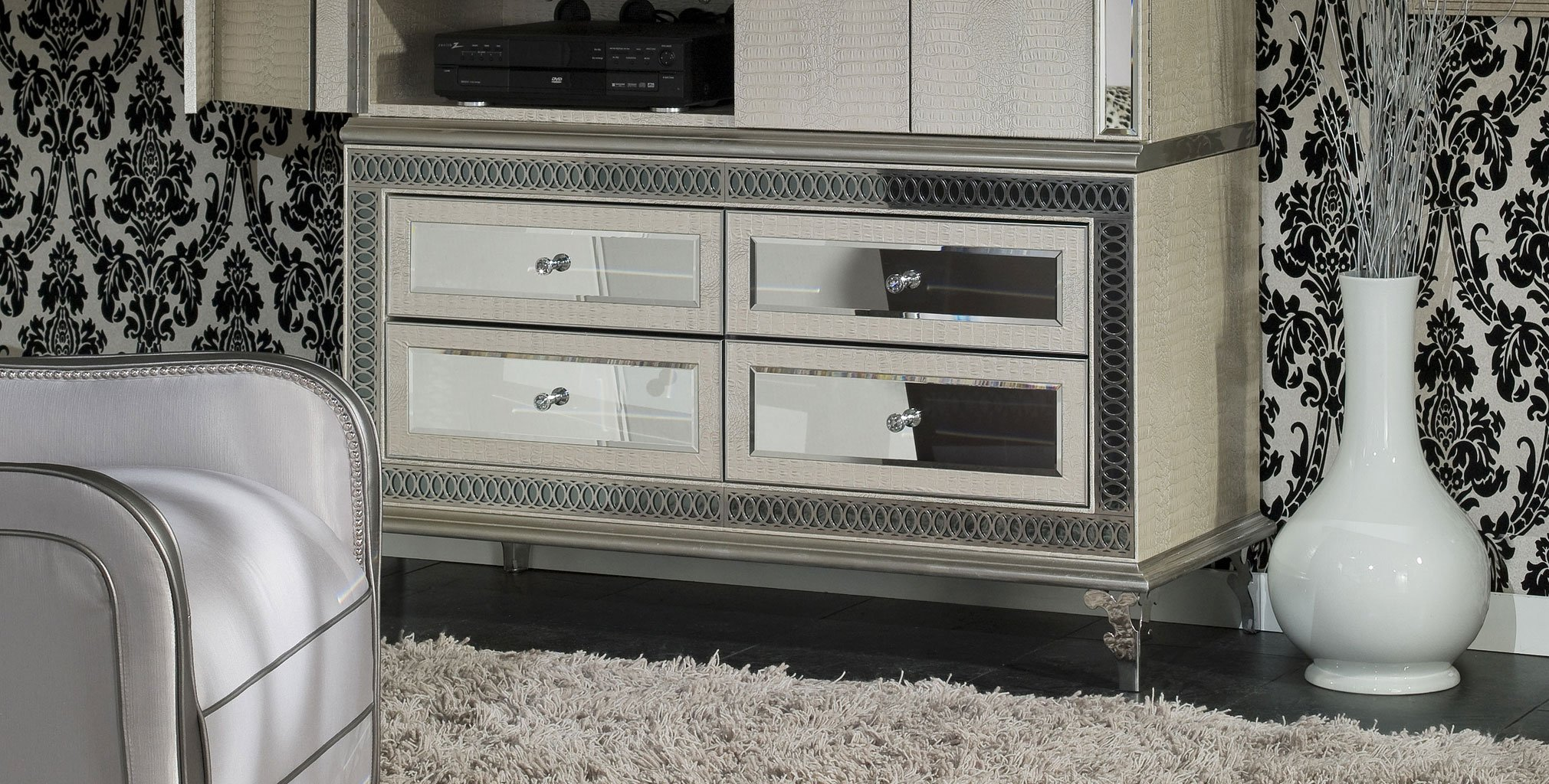Hollywood Swank Bedroom Set W Creamy Pearl Bed Aico Furniture 2 Reviews Furniture Cart