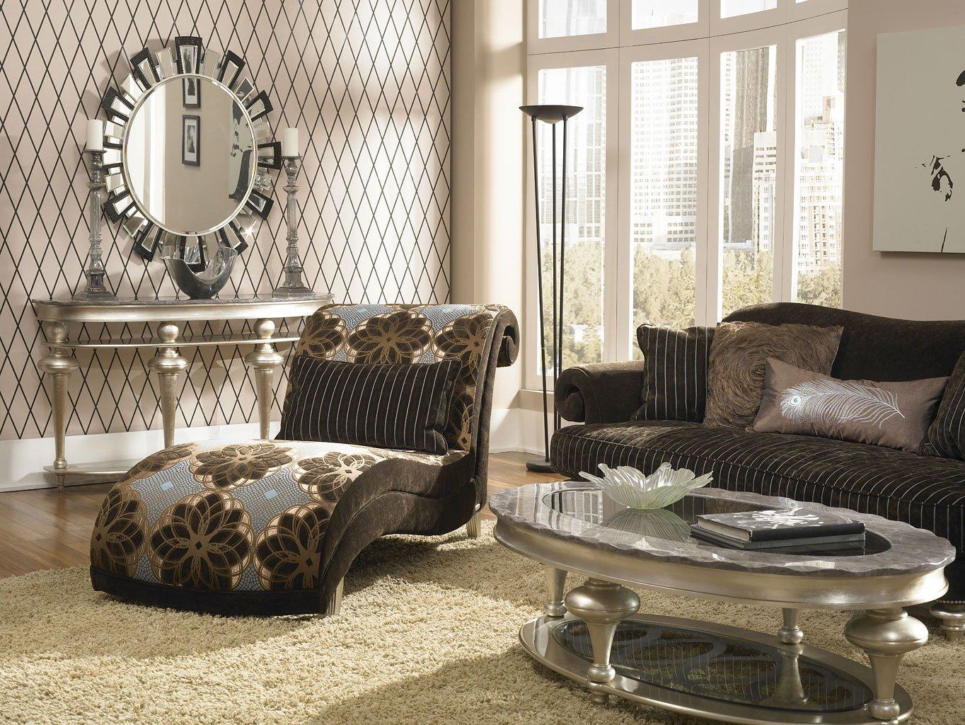 Genial Hollywood Swank Living Room Set (Chocolate)