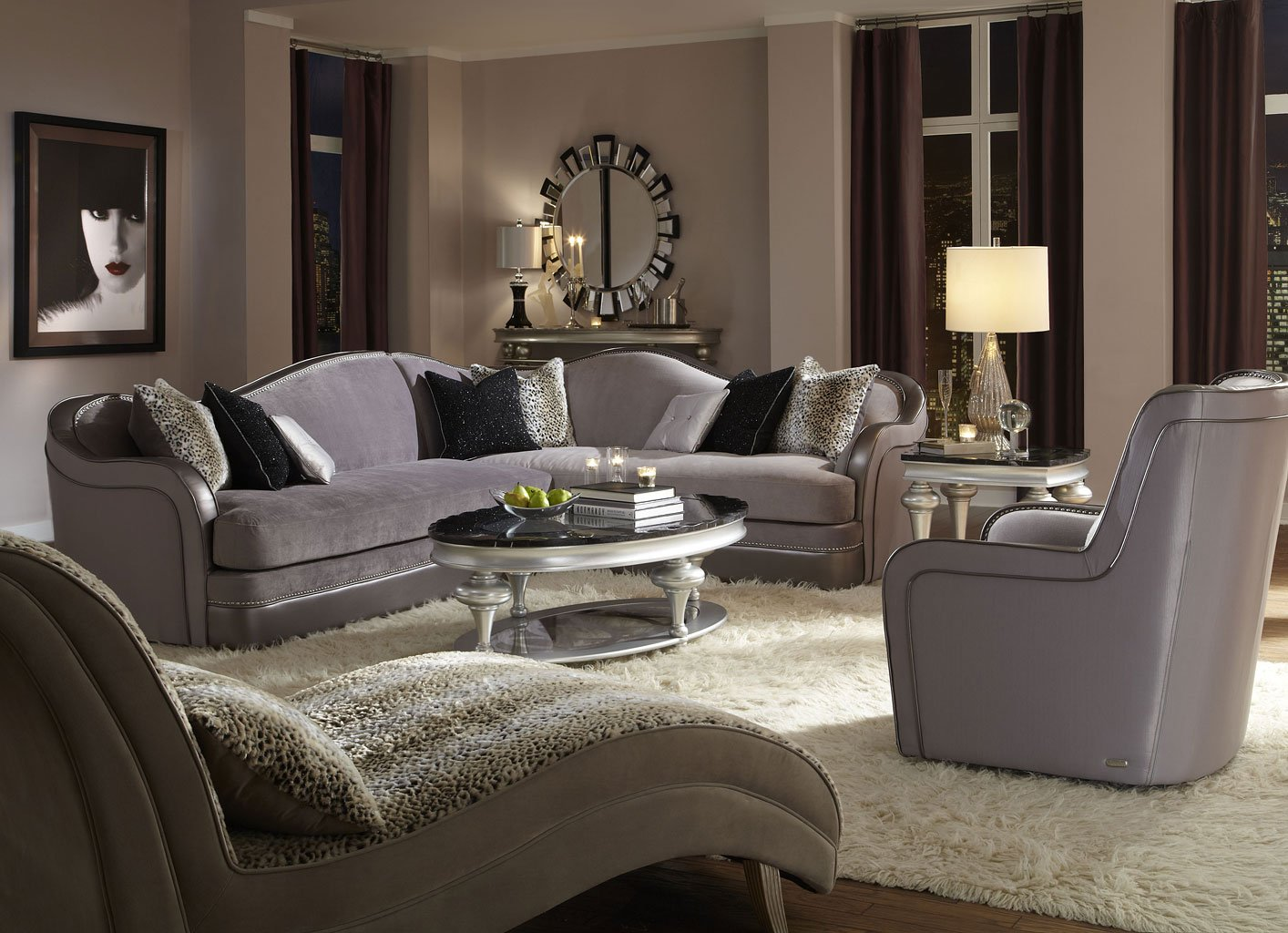 Hollywood Swank Sectional Set (Silver)
