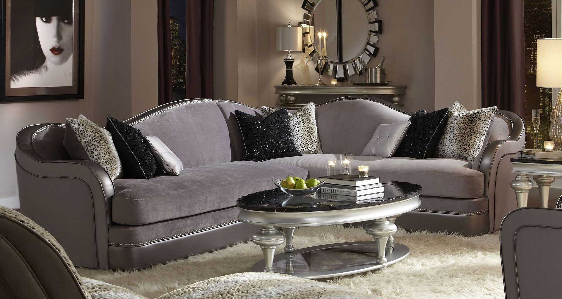 hollywood swank sectional silver silvr 00 aico furniture