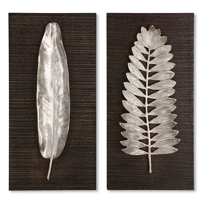 Silver Leaves Wall Art (Set of 2)