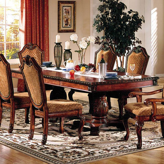 Tables N Chairs: Chateau De Ville Dining Room Set W/ Fabric Chairs Acme