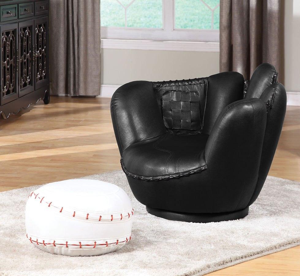 All Star Baseball Glove Chair W Ottoman Acme Furniture