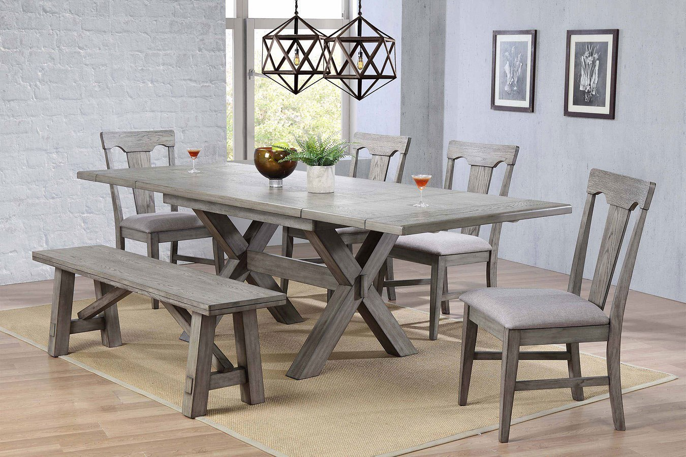 Graystone Trestle Dining Room Set W/ Upholstered Seat Chairs