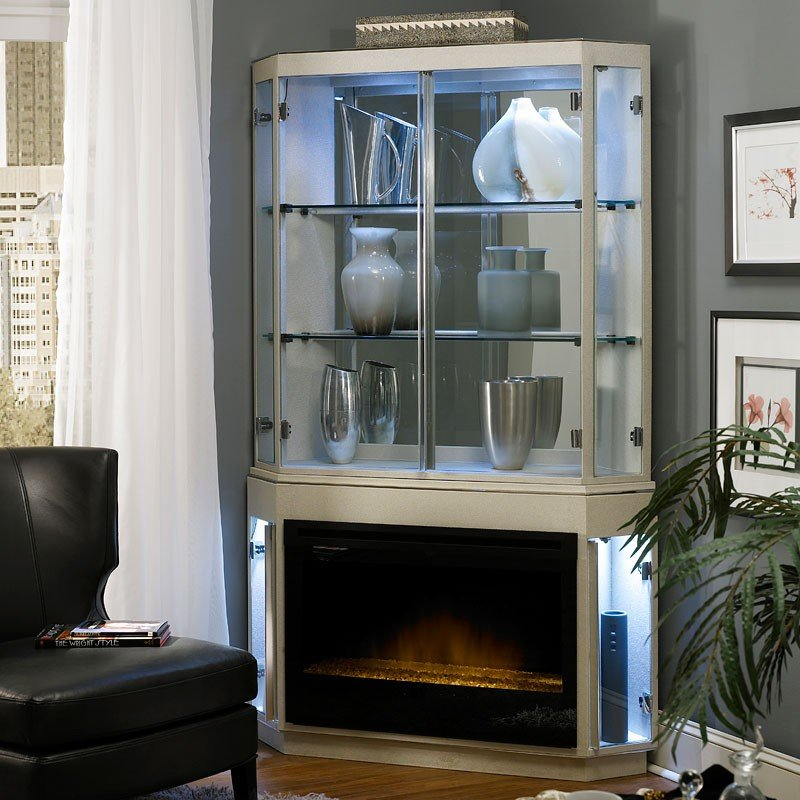 Beverly Blvd Electric Fireplace w/ Curio Top