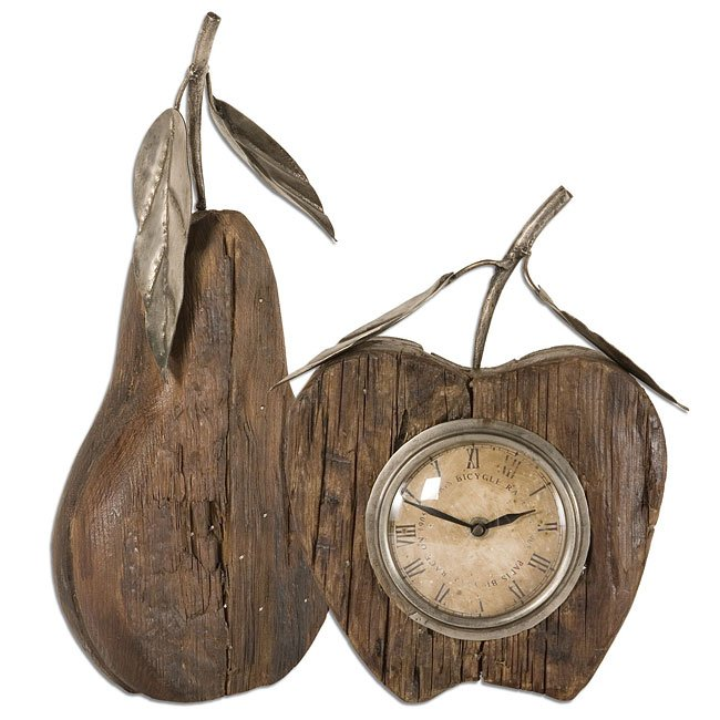 Wooden Apple And Pear Clock