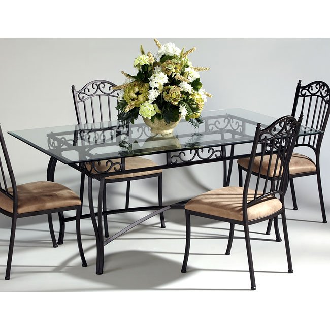 Wrought Iron Dining Room Sets: Wrought Iron Rectangular Dining Room Set Chintaly Imports