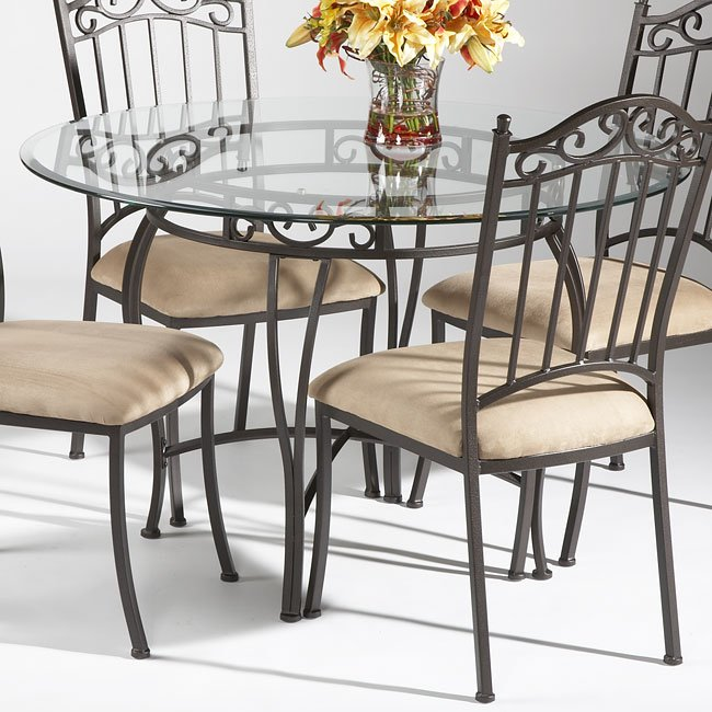 Wrought Iron Round Gl Dining Table Chairs Sold Separately