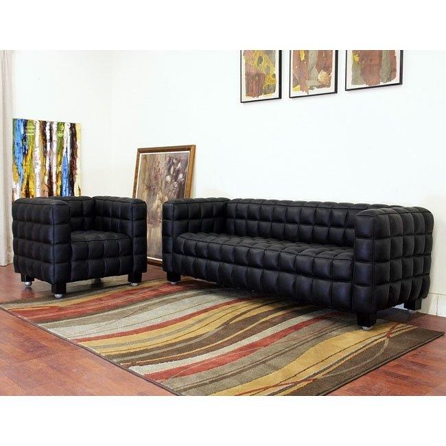 Arriga Black Leather Living Room Set