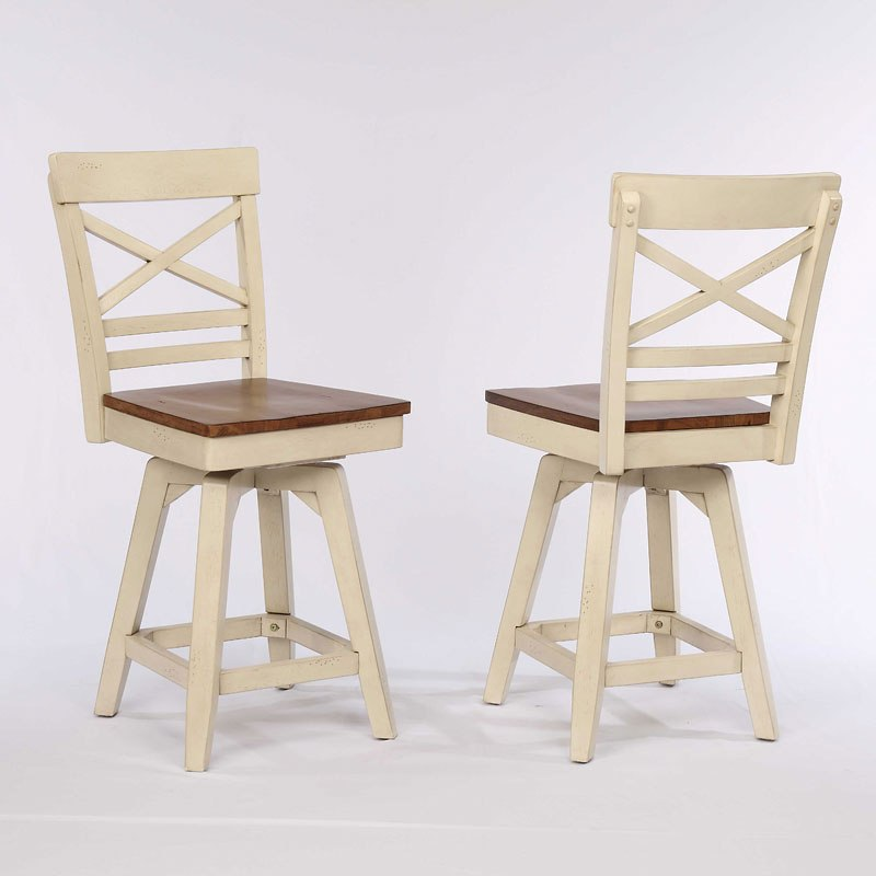 Antique White X Back Counter Stool Set Of 2 Eci