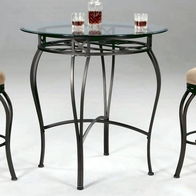 Wrought Iron Round Glass Counter Height Table