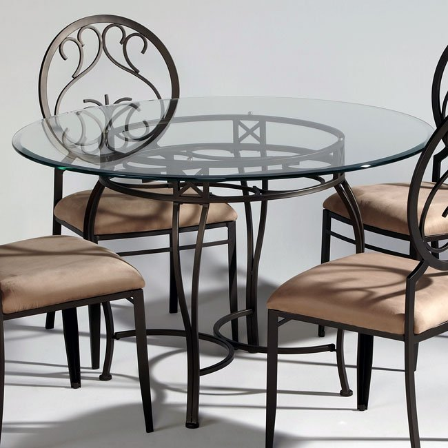 Wrought Iron Kitchen Table And Chairs: Wrought Iron Glass Top Dining Table Chintaly Imports