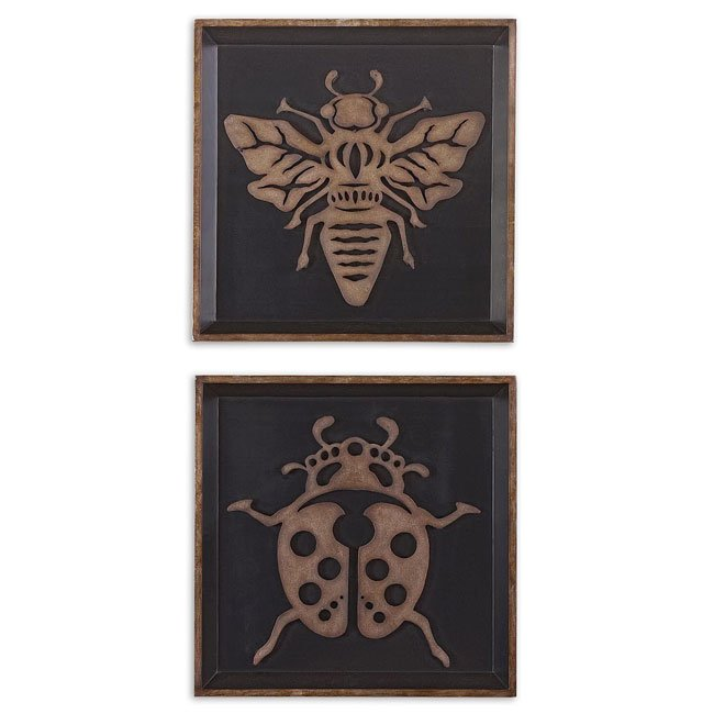 Lady Bug & Bee Metal Wall Art (Set of 2)