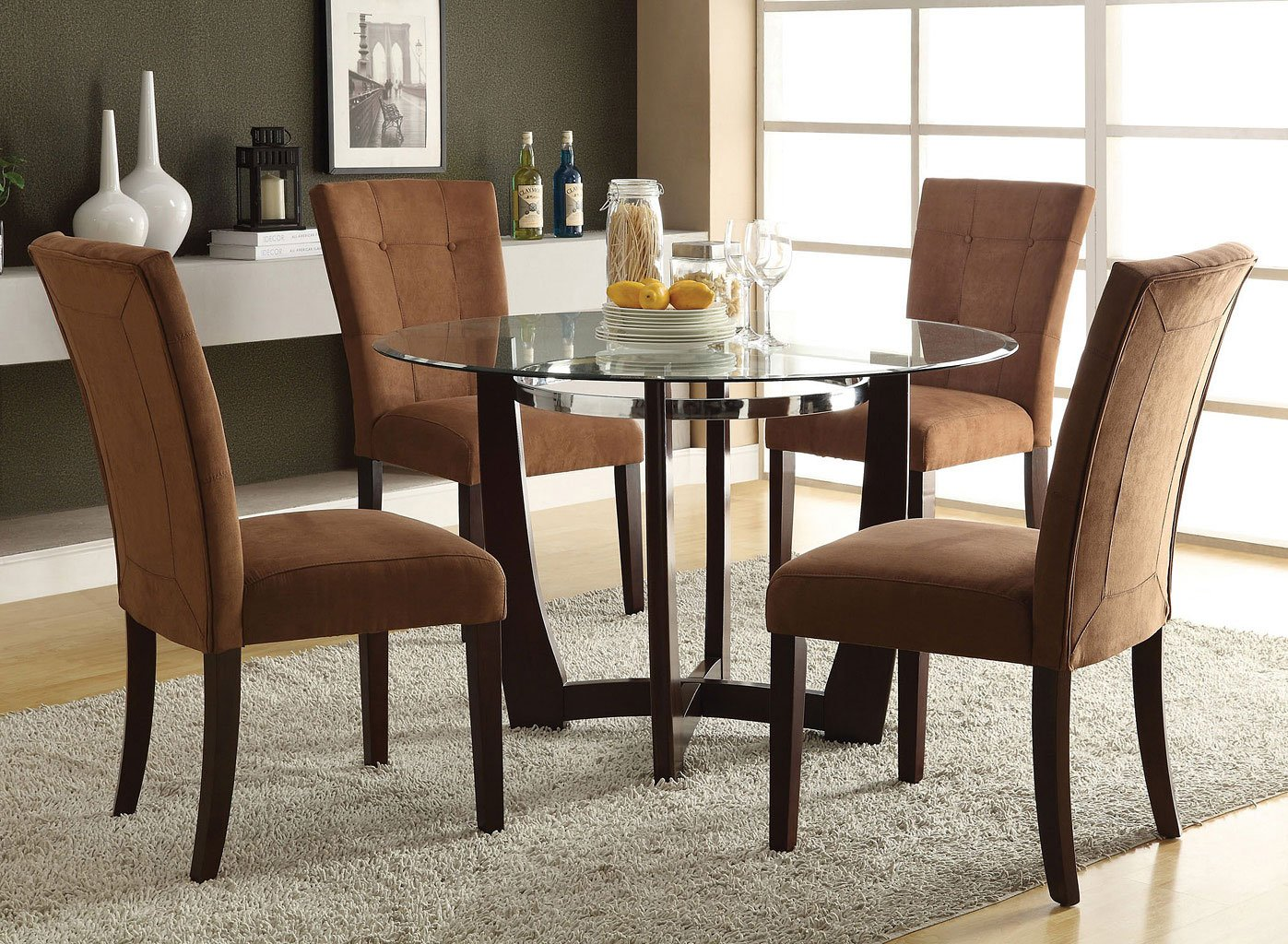 Baldwin dining room set w chocolate chairs acme furniture furniture cart