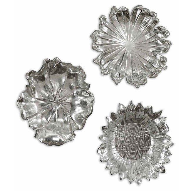 Silver Flowers Metal Wall Art (Set of 3)