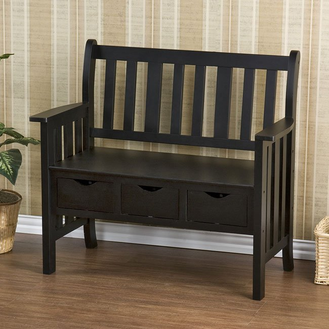 Pecos 3-Drawer Country Bench (Black)