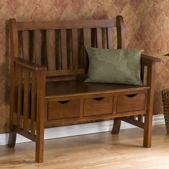 Pecos 3-Drawer Country Bench (Oak)