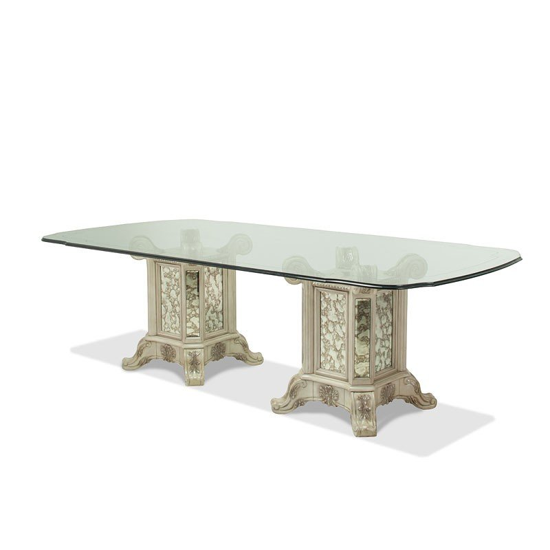 Platine De Royale Rectangular Glass Dining Table Champagne Aico