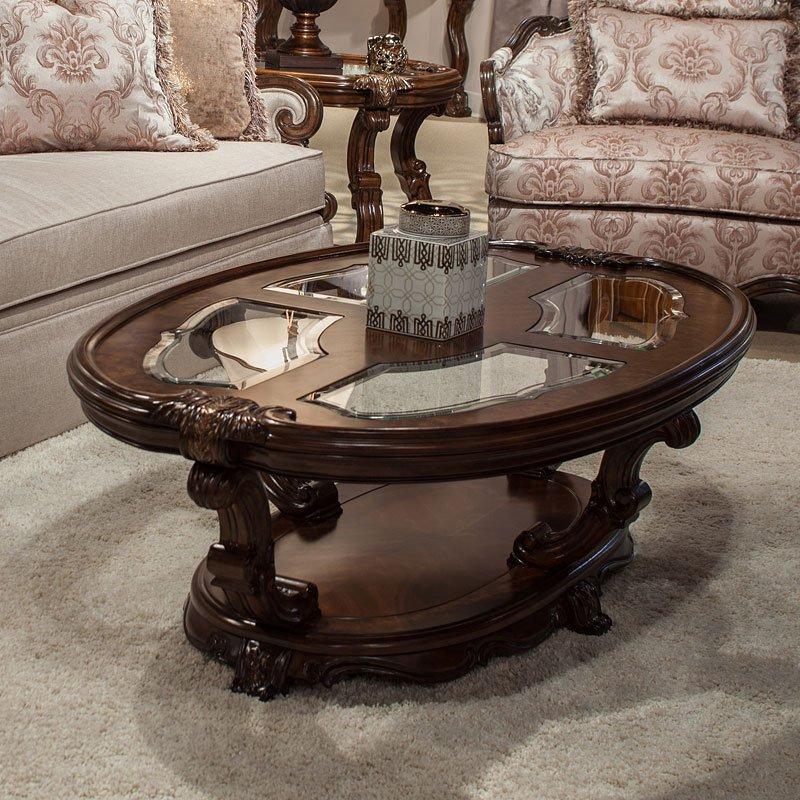 Platine De Royale Oval Cocktail Table (Light Espresso)