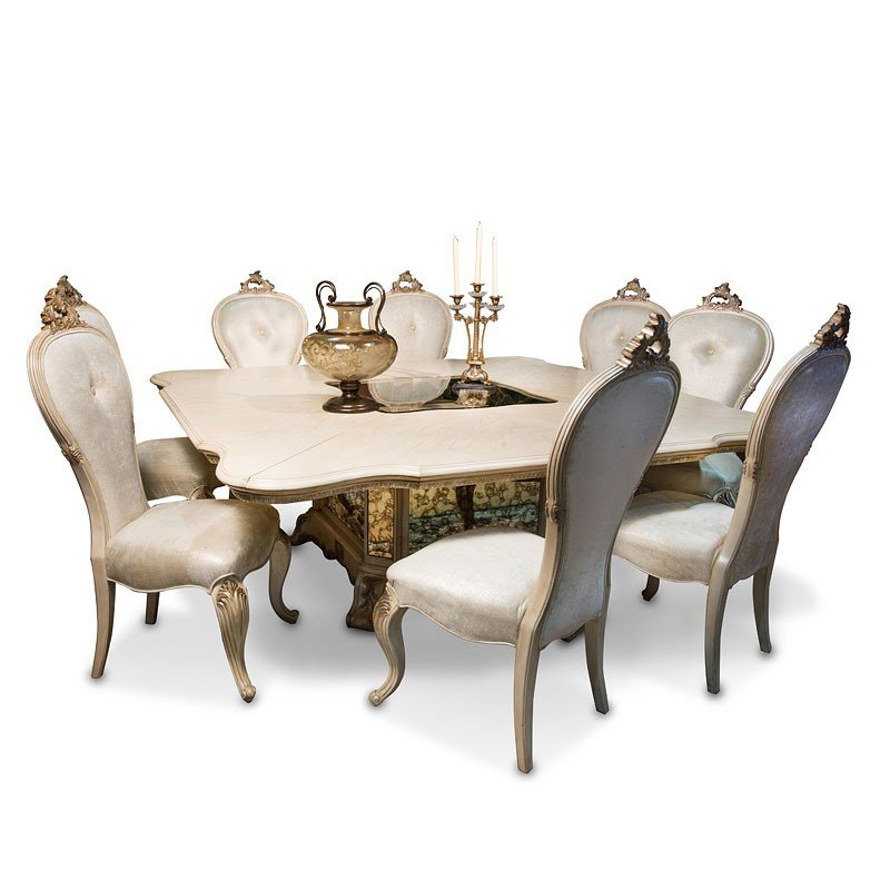 Champagne Dining Room Furniture: Platine De Royale Square Dining Room Set (Champagne) Aico