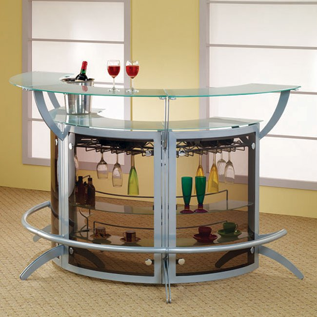 Silver 3-Piece Bar Set with Glass Top