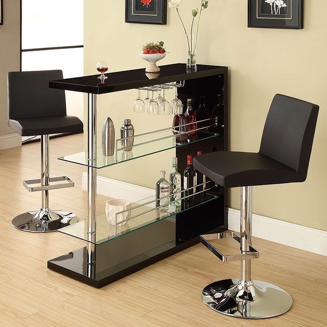 Sleek Contemporary Bar Set (Black) Coaster Furniture