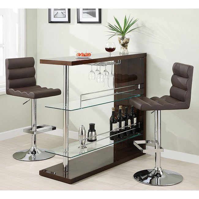 sleek contemporary bar set cappuccino coaster furniture. Black Bedroom Furniture Sets. Home Design Ideas