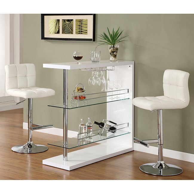 sleek contemporary bar set white coaster furniture 1. Black Bedroom Furniture Sets. Home Design Ideas