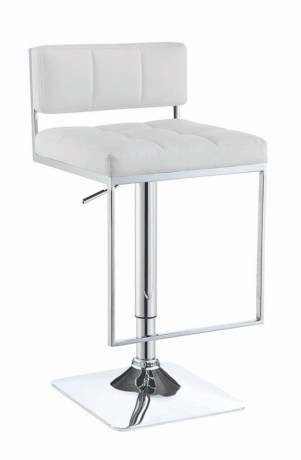 White Low Back Adjustable Bar Stool Coaster Furniture Furniture Cart