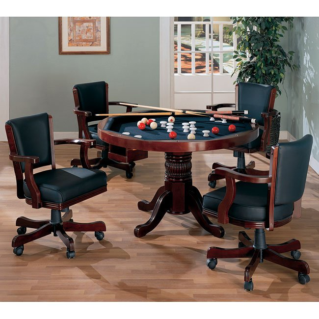 Mitchell Poker/ Bumper Pool Game Room Set (Cherry)