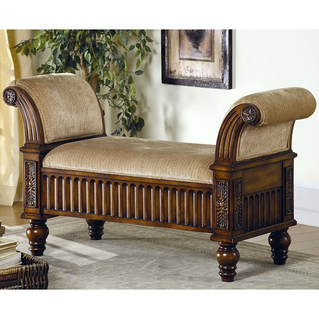 Carved Rolled Arms Upholstered Bench