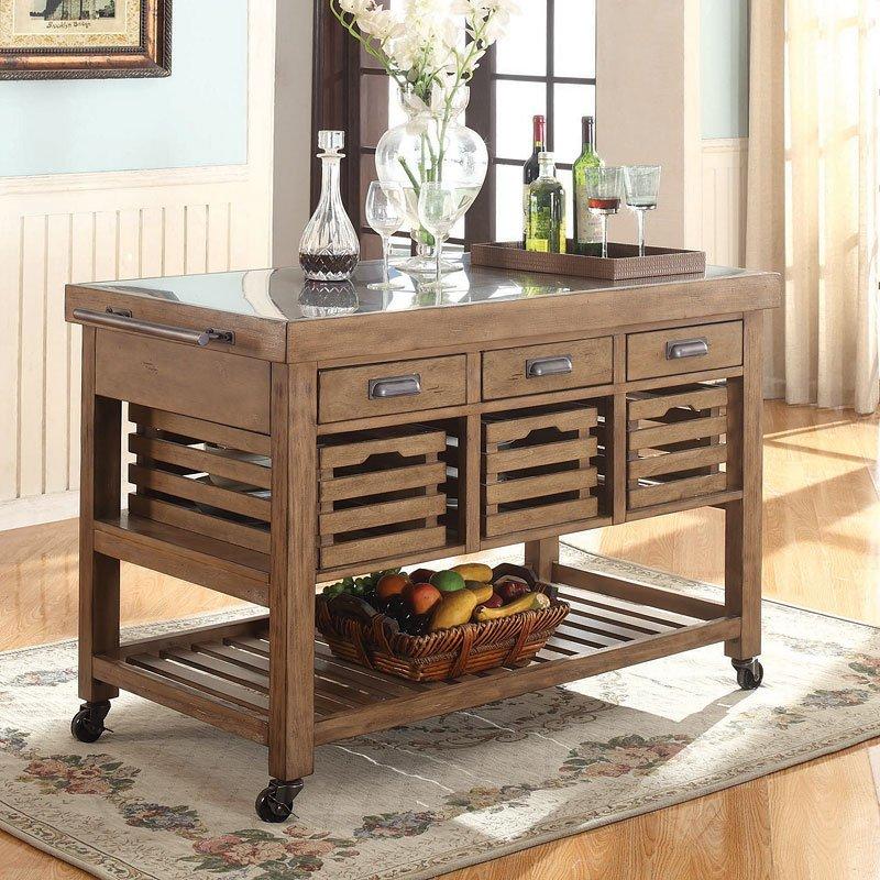 Best Brand Furniture Reviews: Kitchen Island W/ Stainless Steel Top Coaster Furniture, 1