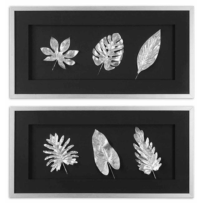 Silver Leaves Metal Wall Art (Set of 2)