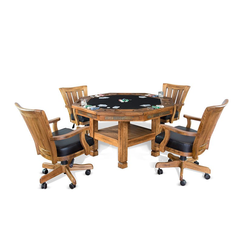 Sedona Storage Game and Dining Table Set w/ Wood Back Chairs