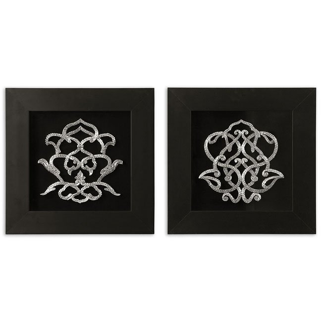 Encrusted Ornaments Metal Wall Art (Set of 2)