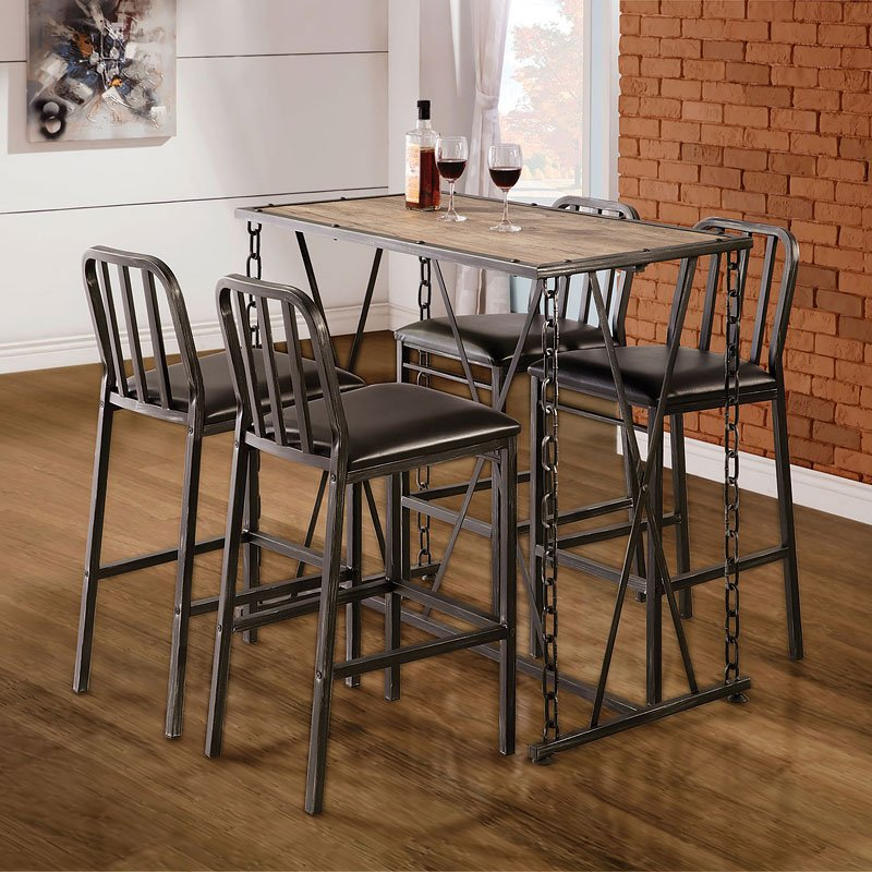 Rustic Industrial Chain Link Bar Table Set