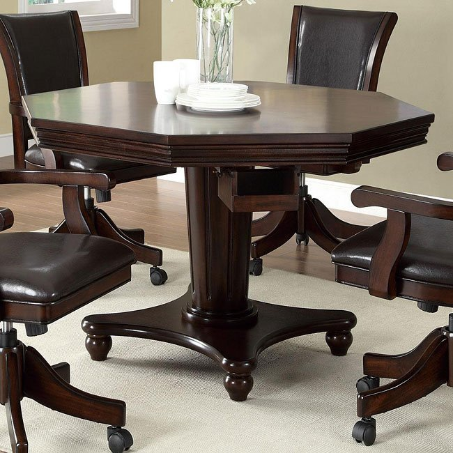 Coaster Fine Furniture Poker Table: Dark Mahogany Poker/ Pool Game Table Set Coaster Furniture