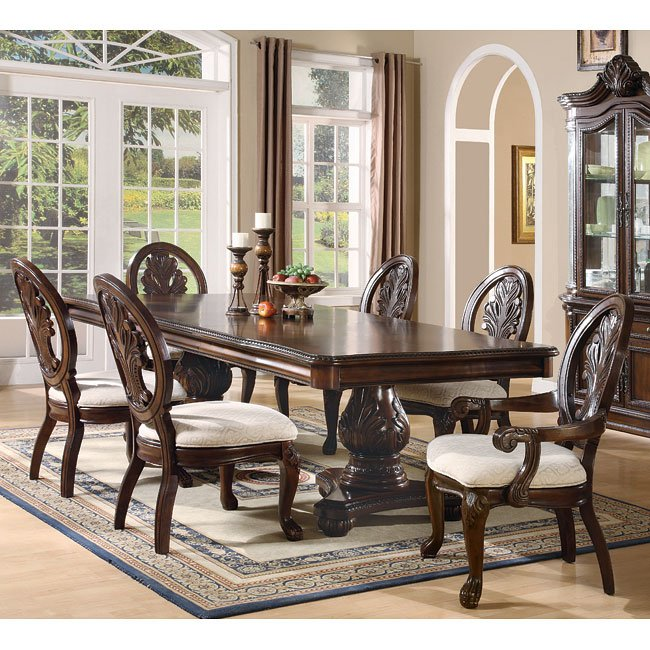 Traditional Dining Room: Tabitha Double Pedestal Dining Room Set Coaster Furniture