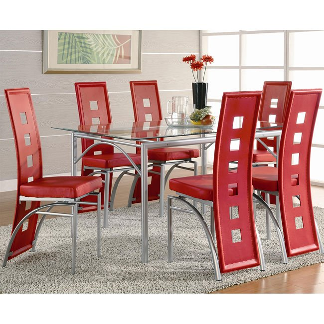 Los Feliz Dining Room Set with Red Chairs