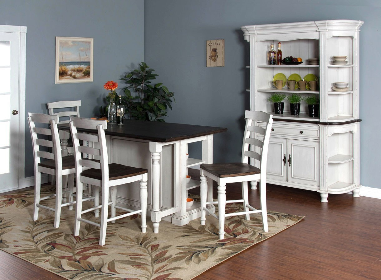 Bourbon County Kitchen Island Set W/ Wood Seat Stools (French Country)
