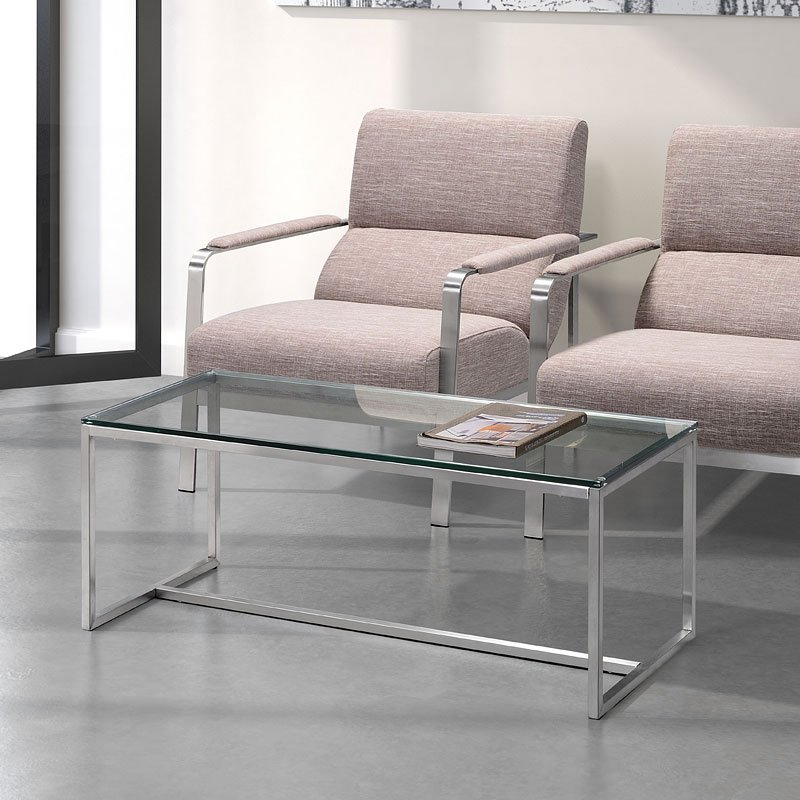 Sprocket Coffee Table (Brushed Stainless) Zuo Modern