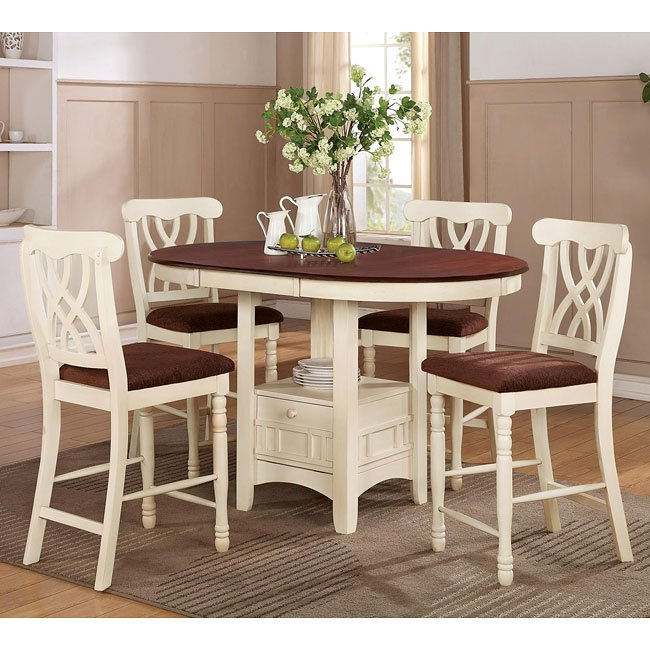 Addison Counter Height Dining Set (White/ Cherry)